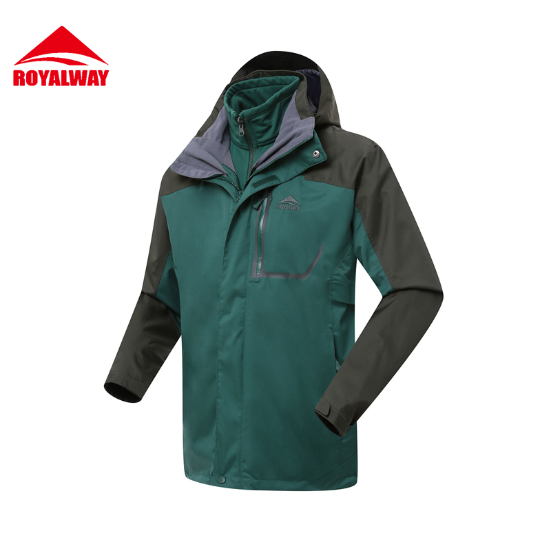 ROYALWAY 2Pieces Winter Hiking Jacket Outdoor Jacket Men 3 In 1 Polar Jacket#RFOM4388F men winter outdoor jacket autumn hiking