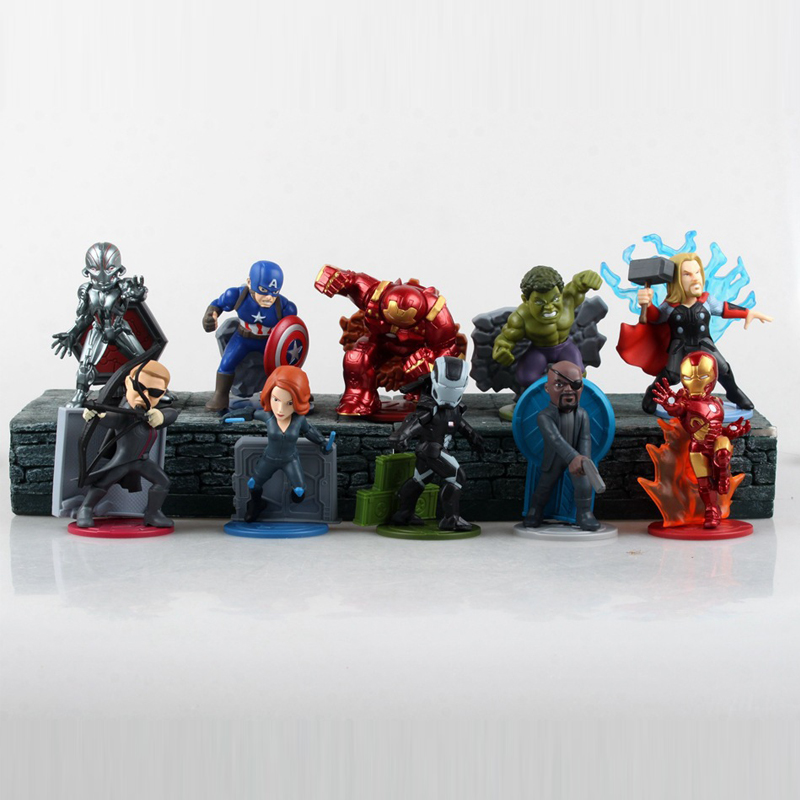 Avengers: Age of Ultron 10pcs/set  PVC Magnetic Figure Toys Thor Hulk Iron Man Captain America Black Widow Hawkeye Free shipping avengers age of ultron iron man hulk vision ultron war machine pvc action figures toys with led light 5pcs set