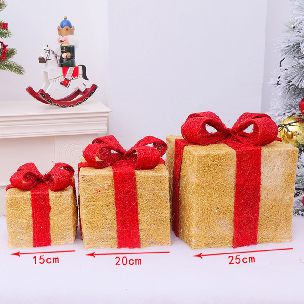 CHRISTMAS PRESENTS LIT PARCELS Set of 3 GOLD & RED Fairy