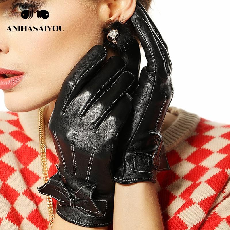 Fashion bow leather gloves women warm gloves female winter hit color sheepskin gloves short women leather gloves - L055