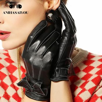 Fashion bow leather gloves women warm female winter hit color sheepskin short -  L055