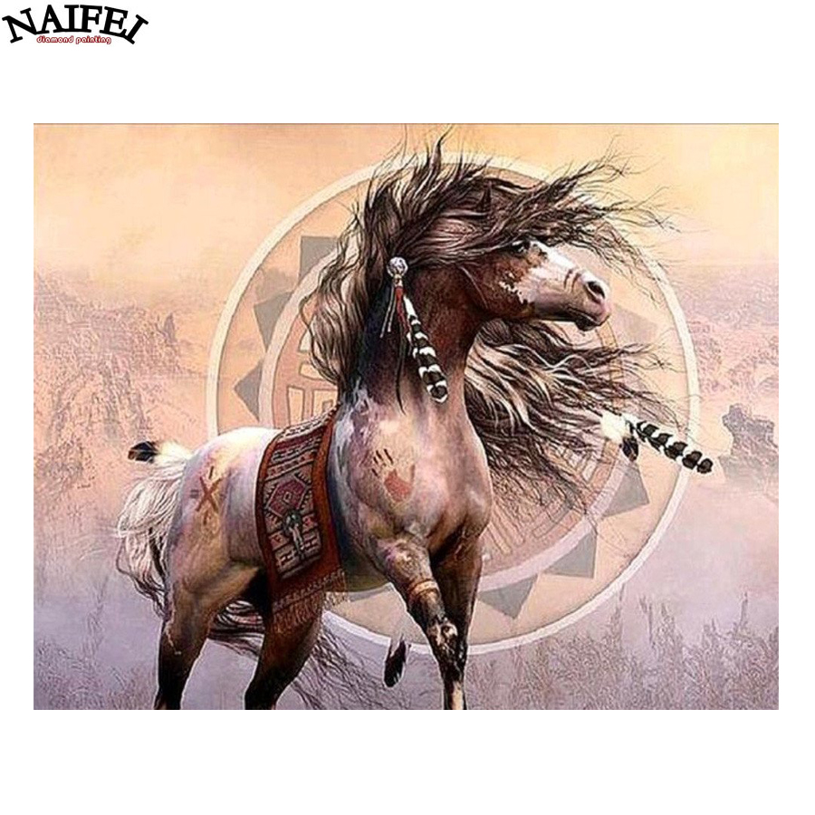 Feather Horse 5D DIY Diamond Painting Embroidery Cross Stitch Arts Craft For Home Wall Decor