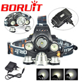 30W 8000LM High Power 3 Head XML T6 LED Bicycle Bike Front Light USB HeadLamp Cycling Light Power Bank + AC Charger