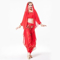 Wholesale Women Dance Wear 4 Piece Costume Set Rhinestone Headpiece Halter Top Coin Belt And Pants