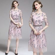 Summer Pink Dress Women Vintage National style Embroidery Mesh Stitching Knee-length