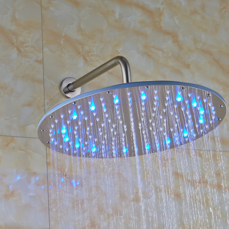 led rain shower head brushed nickel