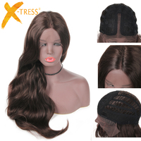 Medium Brown Blonde 613# Color Lace Front Synthetic Hair Wigs X TRESS 28inch Long Natural Wave Middle Part Wig For Black Women
