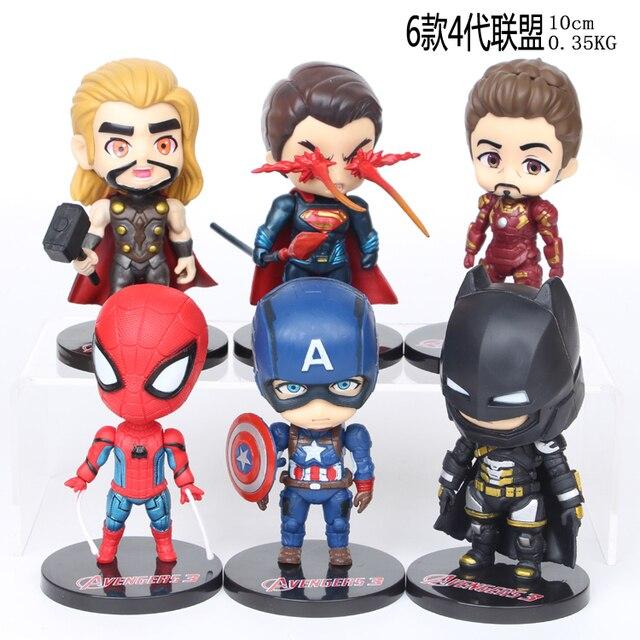NEW hot 10 cm 6 pçs/set Avengers iron Man Thor Spiderman Batman Superman Liga Da Justiça figura de Ação Capitão brinquedos de Natal presente