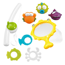 Children's 8pcs/set Magnetic Fishing Parent-Child Interactive Toys Game Kids 1 Rod 1 Net 6 3d Fish Baby Bath Toys Outdoor Toy недорого