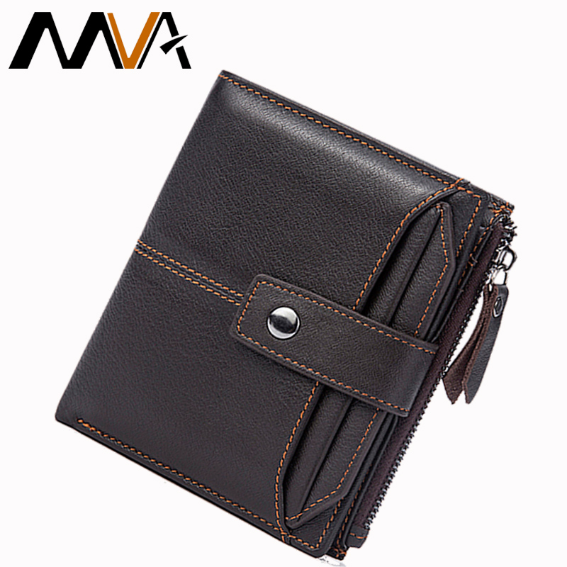 MVA Genuine Leather Wallets Men Wallets Male Purse Hasp Short Card Holder Wallet Clutch Zipper Mens Leather Wallet Coin Purse kam powercan tri54w slim