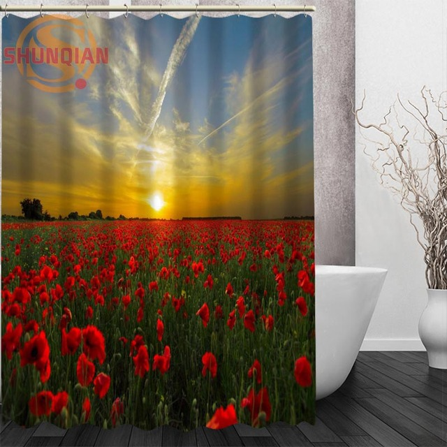 Poppies Red Flowers Shower Curtain Eco Friendly Modern Fabric Polyester Custom Bath Curtains Home Decor