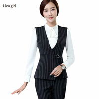 Formal stripe Vest women business work uniforms Slim V Neck Metal buttons Formal office ladies Interview plus size vest coat