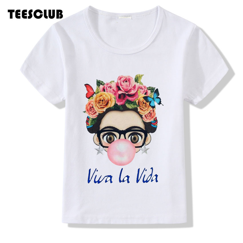 Children T-shirt 2018 Fashion Frida Kahlo Print Kid T shirt Summer Tops Boy Girl Short Sleeve Baby Clothing Camiseta fashion baby girl t shirt set cotton heart print shirt hole denim cropped trousers casual polka dot children clothing set