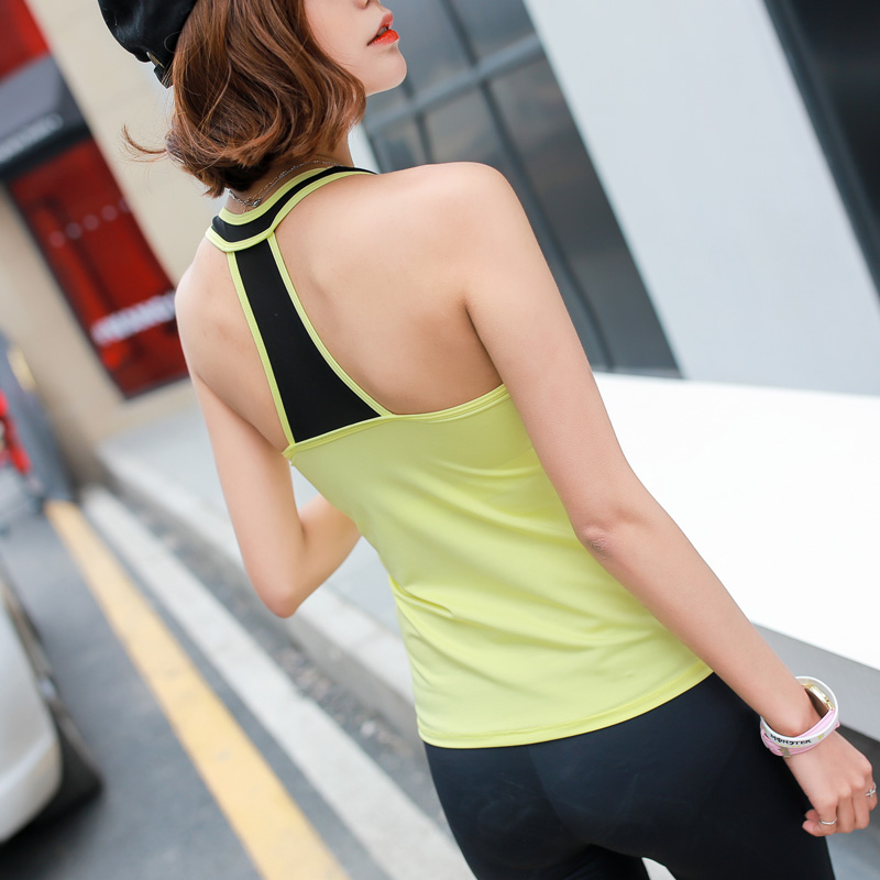 Summer Top Quality Fitness Women 2 Pieces Yellow Yoga Vest & Three Quarter Pants Gym Clothes Sportswear Running Outdoor Jogging