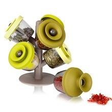 Кухонные подставки Органайзер высокого качества специй горшки для деревьев приправа танки 6 банок набор с Pop up специй стойки cjjtcf00157