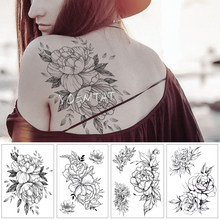 Waterproof Temporary Tattoo Sticker Old School Line Rose Pattern Flower Tatoo Water Transfer Fake Tattoo Flash Tatto For women(China)