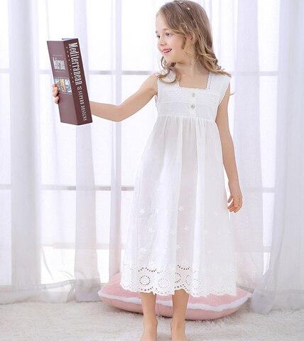2020 verao de manga curta bordado rendas meninas princesa noite vestido para meninas algodao branco