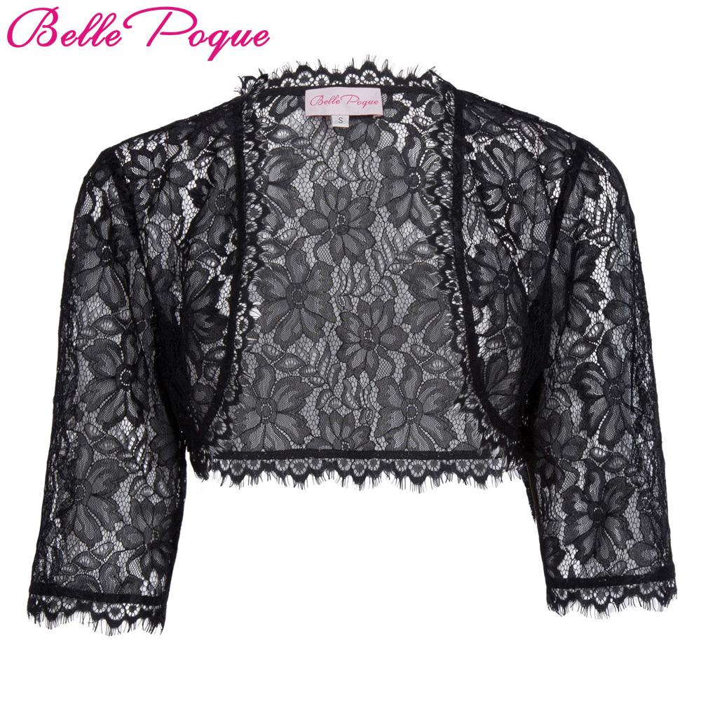 Belle Poque Bolero 2017 Fall Tassel 3/4 Sleeve Crop White Black Lace Shrug Jacket Women Slim Outwear Short Coat Boleros For Girl