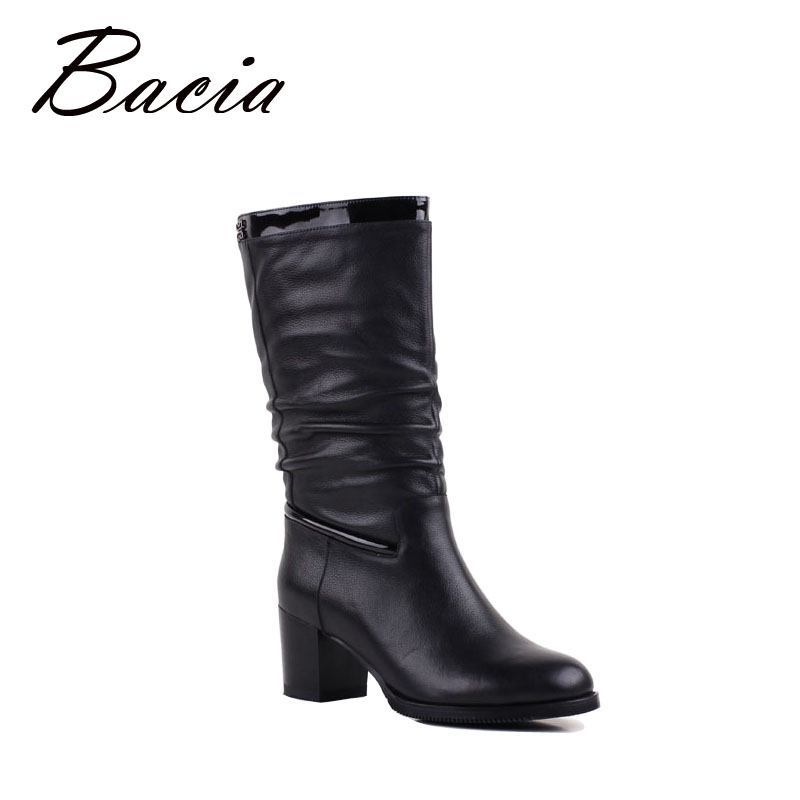 Bacia Motocycle Boots Wool Fur Mid-Calf Boots Square Heels Women Winter Boots Shoes Genuine Leather Handmade Cowhide Shoes VF010