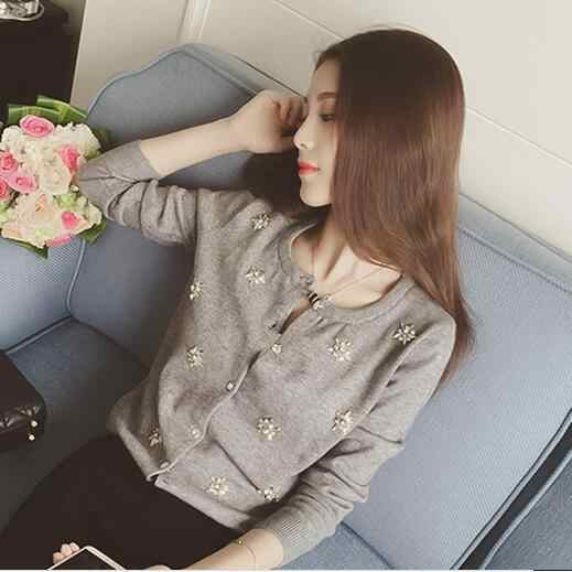 Womens Sweater Knit Cardigan Long Sleeve Print Black White Gray Cotton Sweater Winter Cardigan Women Sweters Mujer 3 Styles Q236