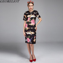 Brand Fashion 2017 High Quality Runway Dress New Summer Women Short Sleeve Tropical Fish Print Bodycon Party Dresses Vestidos