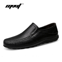 Fashion Nature Leather Men Casual Shoes Light Breathable Flats Shoes Slip-On Walking Driving Loafers zapatos hombre цена