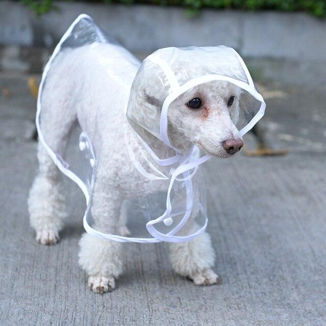 253f9f5de Capa de Chuva Transparente Para Animais de Estimação do cão Roupas À Prova  D' Água Roupas ...