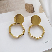 Fashion womens big earrings geometric round metal pendants 2018 Delicate modern new wholesale jewelry gifts