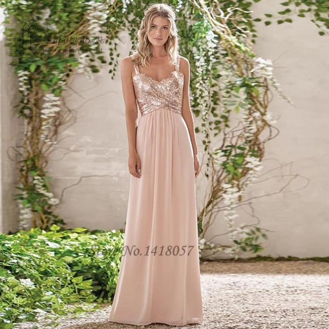 Vestido de Festa de Casamento Blush Pink Sparky Sequin Bridesmaid ...
