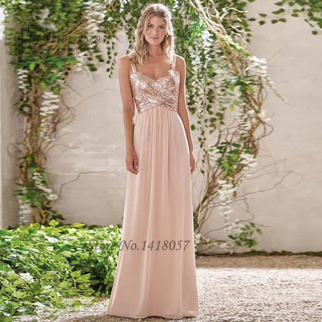 Us 76 8 20 Off Vestido De Festa De Casamento Blush Pink Sparky Sequin Bridesmaid Dresses Long Chiffon African Wedding Party Dress 2017 Madrinha In