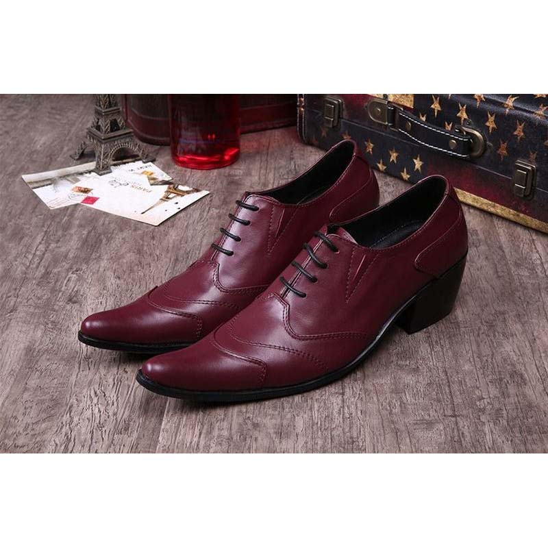 british red pointed toe men high heels genuine leather brogue formal business dress shoes party wedding shoes chaussure homme
