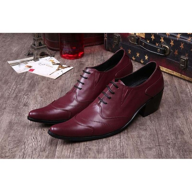 british red pointed toe men high heels genuine leather brogue formal  business dress shoes party wedding shoes chaussure homme 981cf060b43b