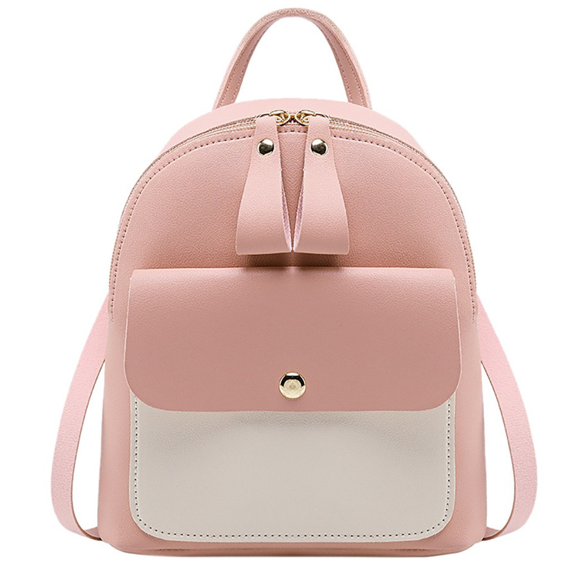 Women Leather Backpack Children Backpack Mini Backpack Women Cute Panelled Backpacks For Teenage Girls Small Bag Bookbag 2020