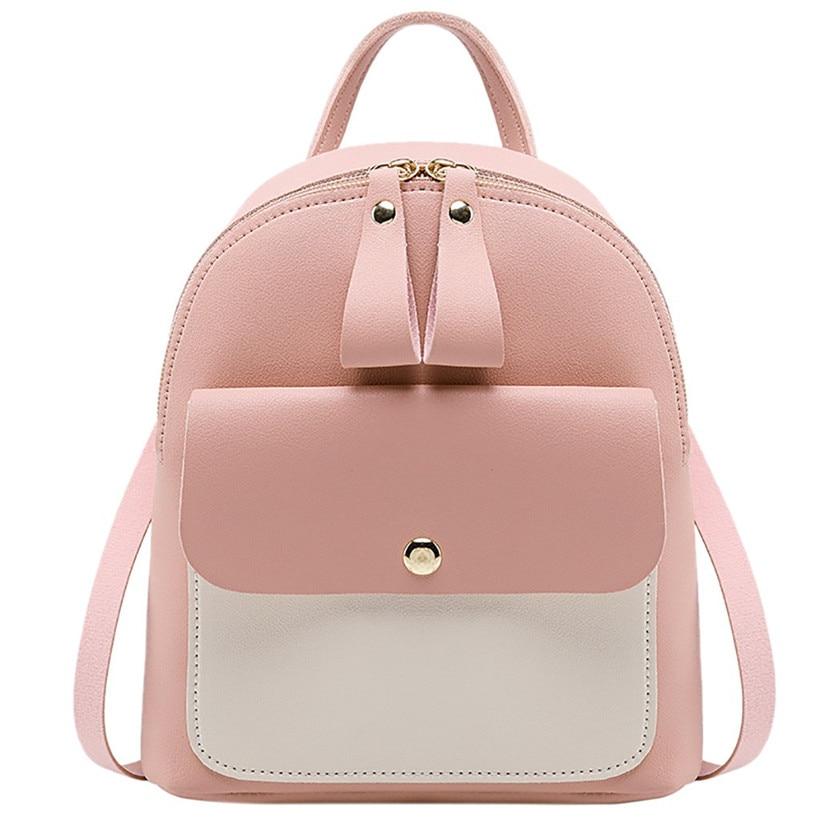 Women Leather Backpack Children Backpack Mini Backpack Women Cute Panelled Backpacks For Teenage Girls Small Bag Bookbag 2020