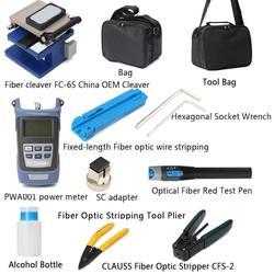 Fiber Optic FTTH Tool Kit Mit FC-6S Fiber Cleaver Und Optische Power Meter 5km Visuellen Fehler Locator Draht Stripper