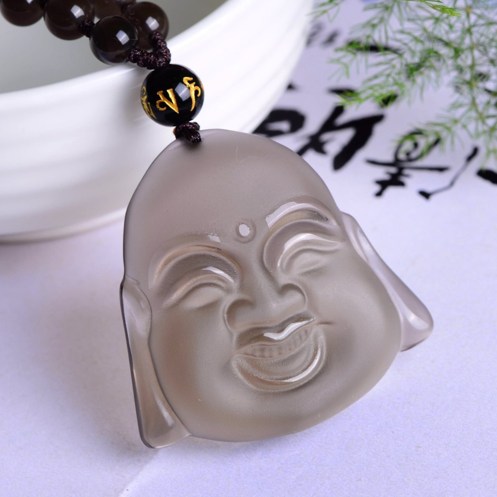 все цены на Free shipping Natural ice obsidian Smiling face necklace pendant with rope wholesale