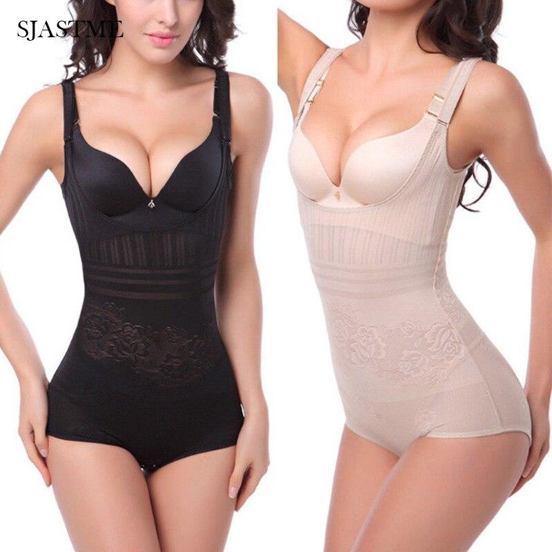 SJASTME Women Sexy Waist Cincher Black Beige Corset Underbust Full Body Tummy Control Shaper Underwear Slimming Shapewear Panty