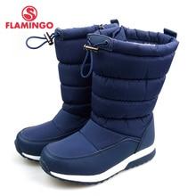 Непромокаемая шерстяная обувь с фламинго, сохраняющая тепло, зимняя обувь высокого качества, Нескользящие Детские зимние ботинки для мальчиков, бесплатная доставка, 82D-NQ-1038