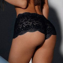 3a669588142 Women Hollow Out Sexy Transparent Black Lace Crochet Underwear Casual Solid Panties  Briefs Seamless Mid Waist Panty Oversized