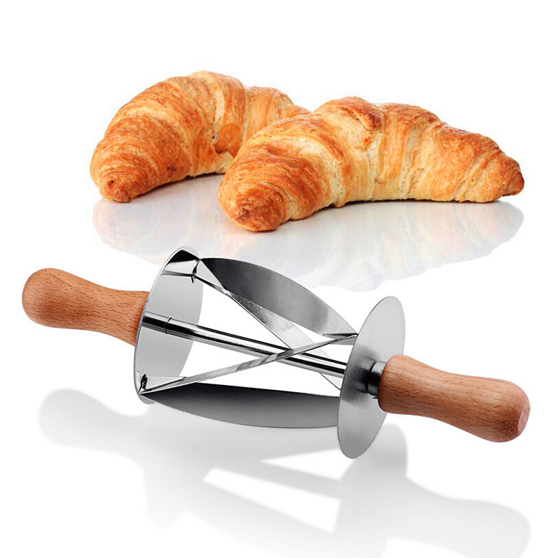Stainless Steel Croissant Cutter Roller Slice Pastry Homemade Croissants AI99