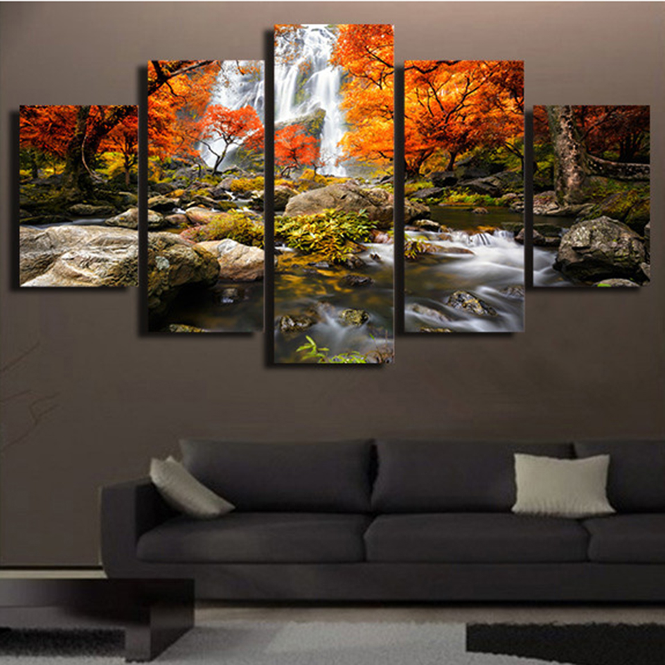Canvas HD Prints Poster Modular Wall Art Pictures Frame 5 Pieces Autumn Nature Forest Landscape Painting Living Room Home Decor image