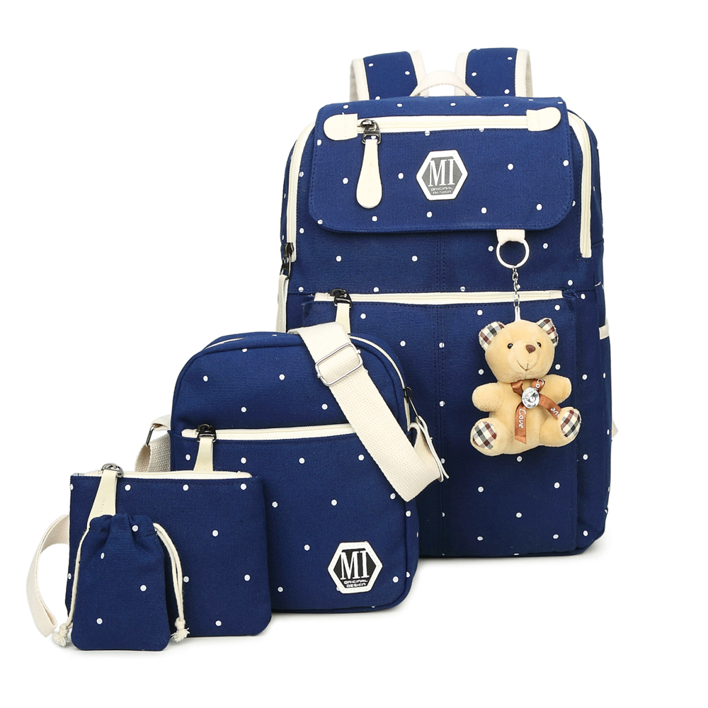 2017 Korean Style Women Large Capacity Canvas Backpack with Bear 4 Pcs/Set Female School Backpacks Schoolbag For Teenagers Girls