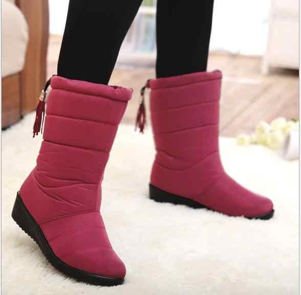 Yeni Kış Kadın Çizmeler Orta Buzağı Botlar Kızlar Kış Ayakkabı Kadın Peluş Astarı Kadın Su Geçirmez Bayan Kar Botları