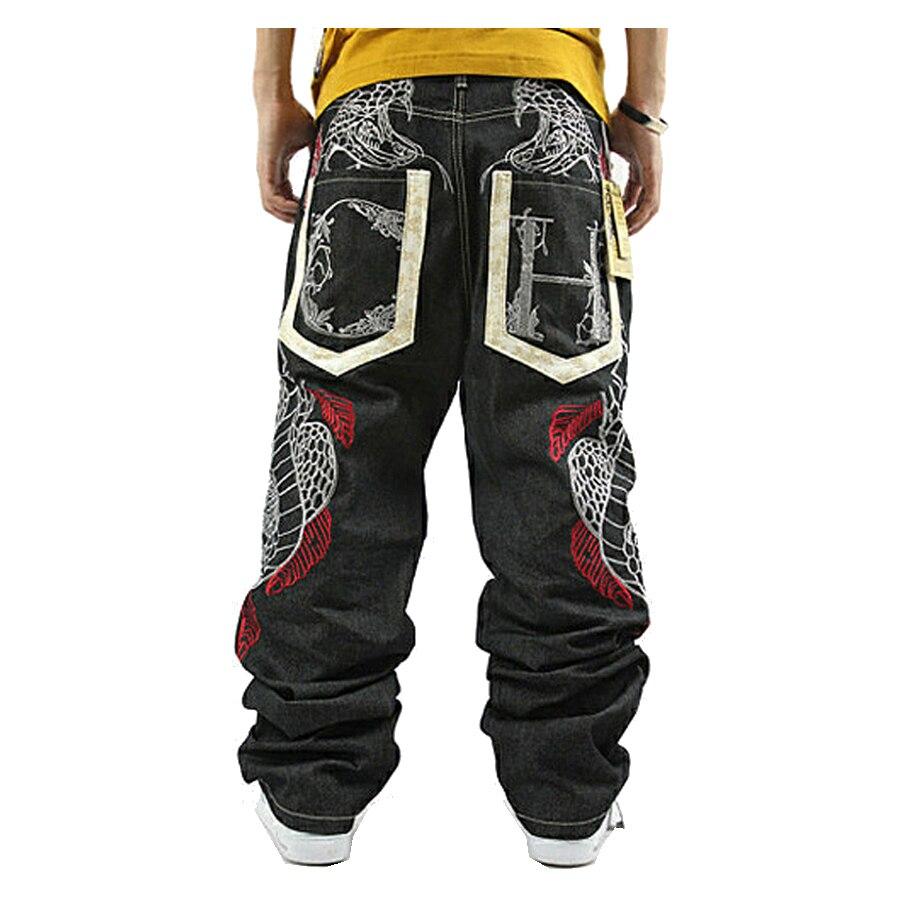 Fashion Printed Jeans New 2020 Loose Hip Hop Jeans Homme Python Embroidery Hip-hop Denim Harem Pants Overalls Men Straight Jeans