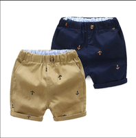 Boys Shorts Embroidery Iron Anchor Pattern Trousers Short Kids Knee Length Baby Boy Summer Pants Cotton Cuffs Child Capris Short