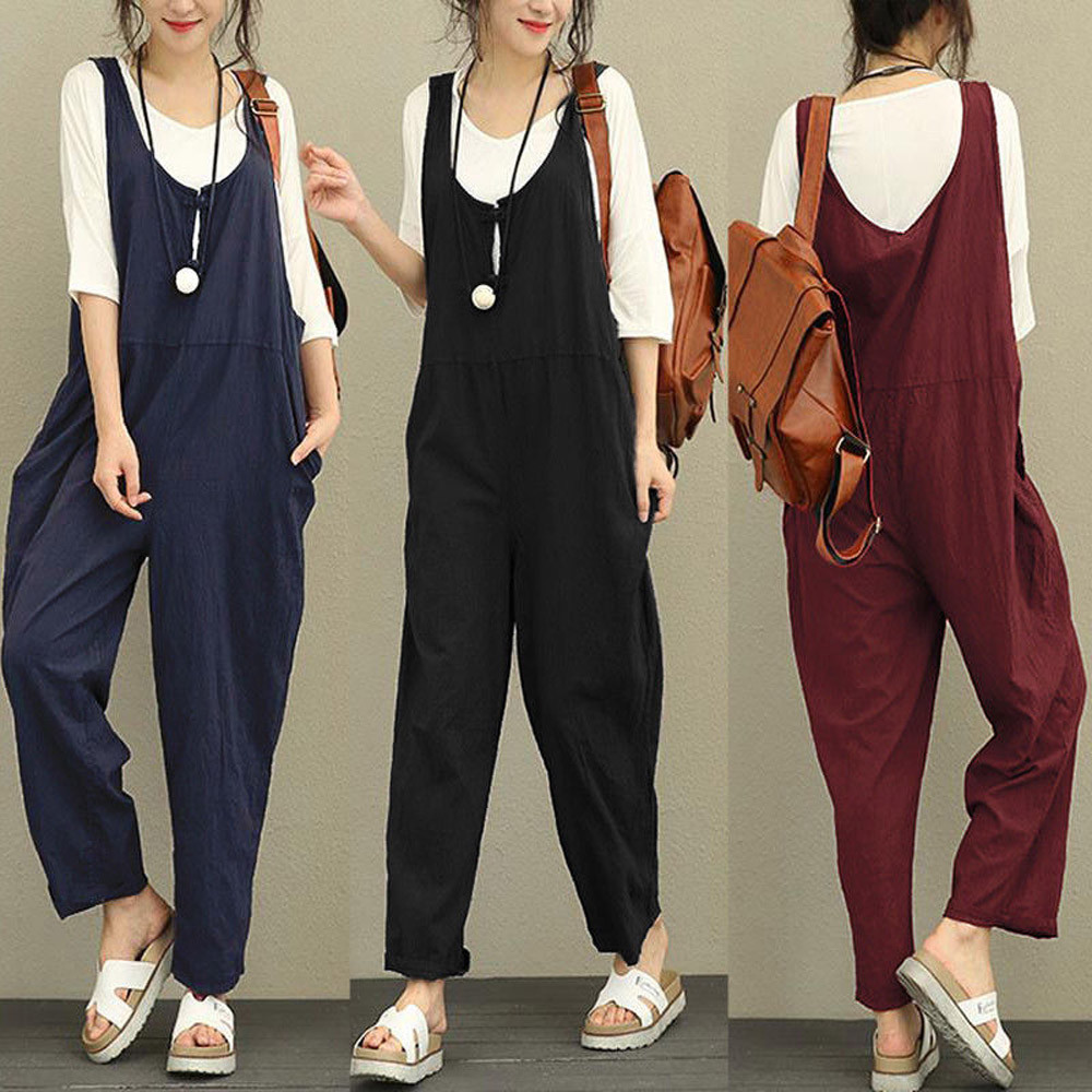 New Summer Women Sleeveless Dungarees Loose Cotton Long Playsuit Ladies Jumpsuit Rompers body suits in Black Red and Navy