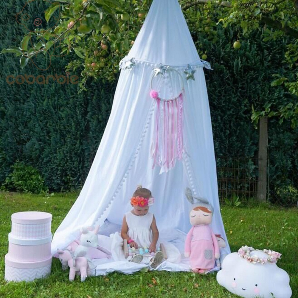 Kids Baby Bedding Round Dome Bed Cotton Canopy Netting Bedcover Mosquito Net Curtain Play Tent For Children  Plush Ball Lace net esspero canopy