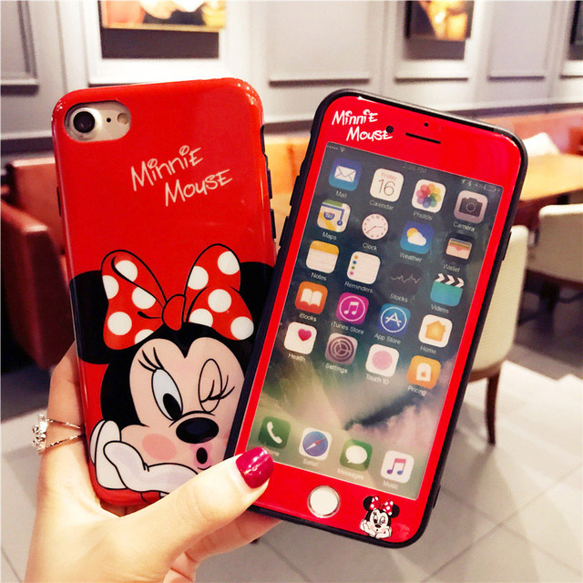 4f67c409631c 360 Full Cover Cartoon Minnie Phone Cases + Glass for IPhone X XR XS Max 6  S 6S 7 8 Plus Iphonex Coque Cute Girl Designer Case