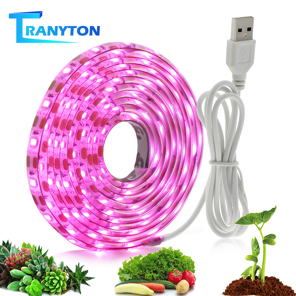 Full Spectrum LED Grow Lamp USB LED Plant Grow Strip 2835 SMD 0.5m 1m 2m Fitolampy Grow Lights For Indoor Plant Flower Seedling