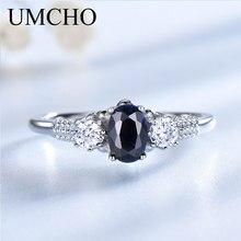 Umcho luxo natural azul safira princesa diana anéis genuínos 925 prata esterlina noivado anéis para o casamento feminino jóias